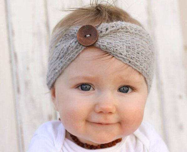 8 Colors Top Selling Baby Head Band European Style Baby Girls Hairband Wool Head Band With Botton Photo Props Hair Accessories Hair BowQ0490