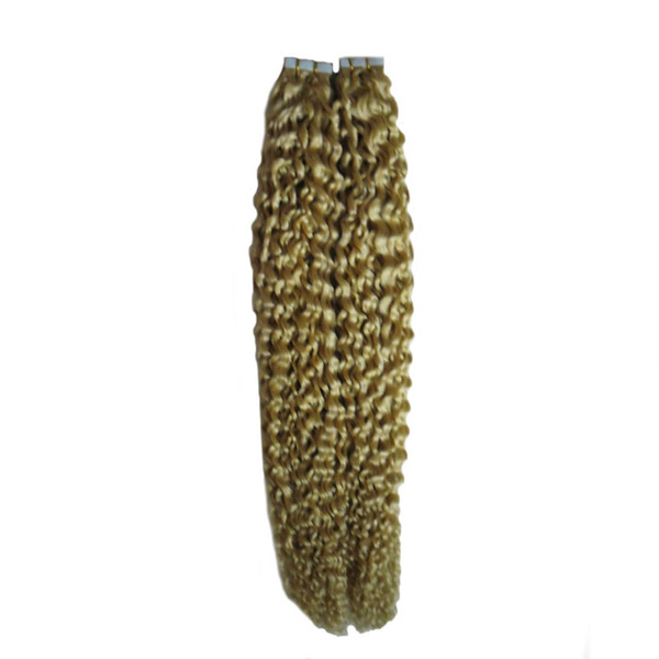 Brazilian virgin tape in hair extensions remy 40 pieces 100g curly tape hair extensions straight 40pcs skin weft seamless hair extensions