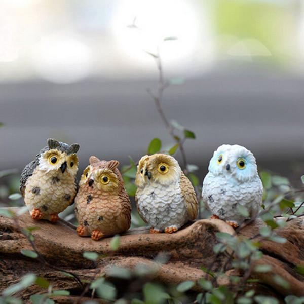 4 pcs Mignon Animal Résine Hiboux Miniatures Figurine Artisanat Bonsaï Pots Maison Fée Jardin Ornement Décoration Mousse Terrarium Décor