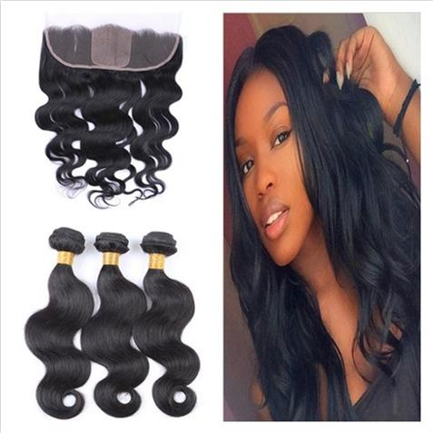 4Pcs Lot Silk Base 13x4 Full Lace Frontal Closure With 3Bundles Body Wave Virgin Brazilian Human Hair Weaves with Silk Top Lace Frontal