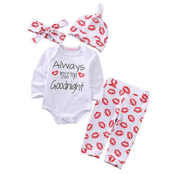 Großhandel- 4 stück weihnachten rot lippe set infant baby jungen mädchen brief langarm outfits kleidung strampler hosen leggings hut