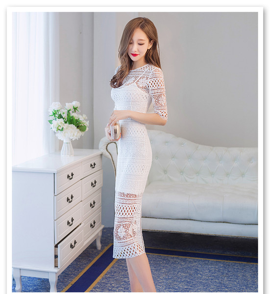 Ladies temperament tight sexy cents skirt elegant dress summer 2017 spring new Korean version of the thin lace dress