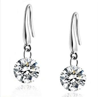 Hot Sale 100% Genuine 925 Sterling Silver Austria Crystal Fine Drop Earring Fashion Costume Jewelry