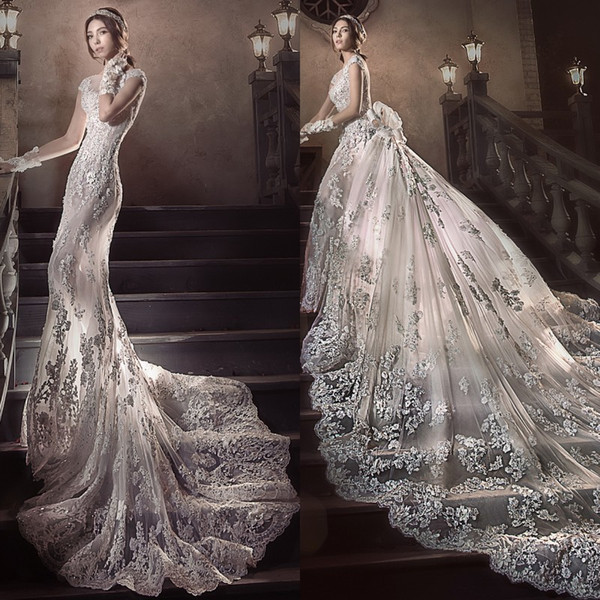 2.5 Meters Long Tail Wedding Dress Gorgeous Fashion Detachable Train Beach Wedding Dress Luxury Crystal Beaded Applique Mermaid Wedding Gown