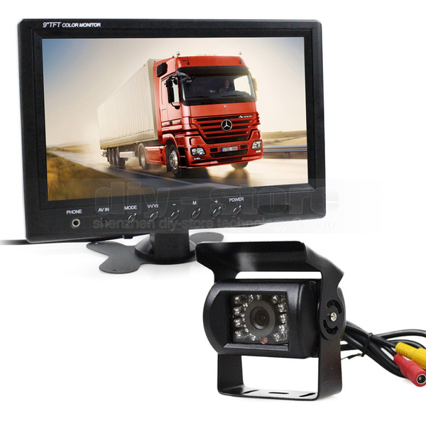 """9"""" Car Monitor Rear View Kit Backup Waterproof CCD Camera Wired 12V-24V System Kit for Bus Horse Trailer Motorhome"""