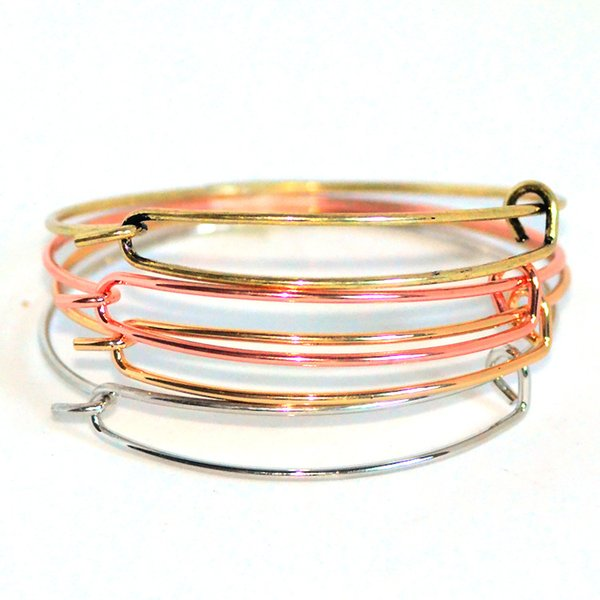 New fashion accessories wholesale wire bangle bracelets DIY jewelry cable wire bangle adjustable round charm love bracelet free shipping