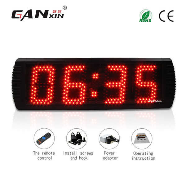 top popular [GANXIN]Hot Sell 5 inch 4 Digits Semi-outdoor LED Display Wall Clock with Black Aluminum Alloy Frame Timer Countdown and Countup Function 2019