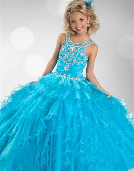 2016 Flower Girl Dresses Princess glitz cupcake pageant dress Ball Gown Capped Ball Gown blue beaded tiered Custom kids bridesmaid dresses12