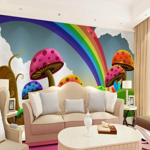 All'ingrosso-Wallpaper il divano del soggiorno TV sfondo carta da parati carino arcobaleno di funghi del fumetto per bambini 3D wall paper murale arcobaleno