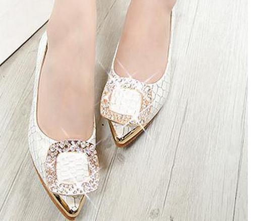 Le nuove scarpe con fibbia quadrata diamante 2017 con suola piatta Scarpe da donna cod