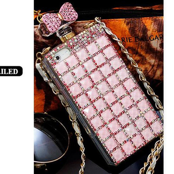 Luxury perfume Bottle Chain Rhinestore Cases For Iphone 4s 5s 6 6S cases Iphone 6 plus Diamond Colorful cell phone cases Free Shippig