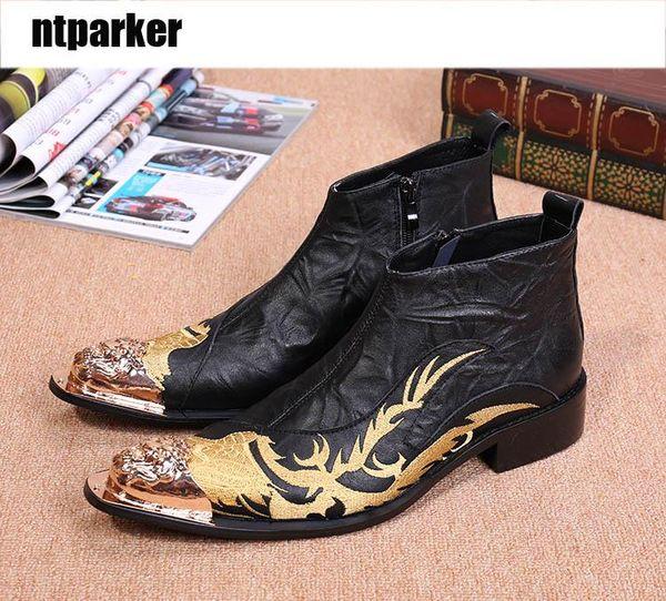 Designer Metal Toe Black High Top Leather Men Shoes Fashion Zipper Short Ankle Boot For Men Embroidered Shoes Black