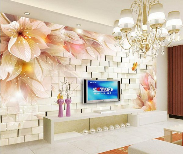Fashion 3d Home Decor Beautiful Fantasy Flowers 3d Stereo Tv Wall Wallpaper For Walls 3 D