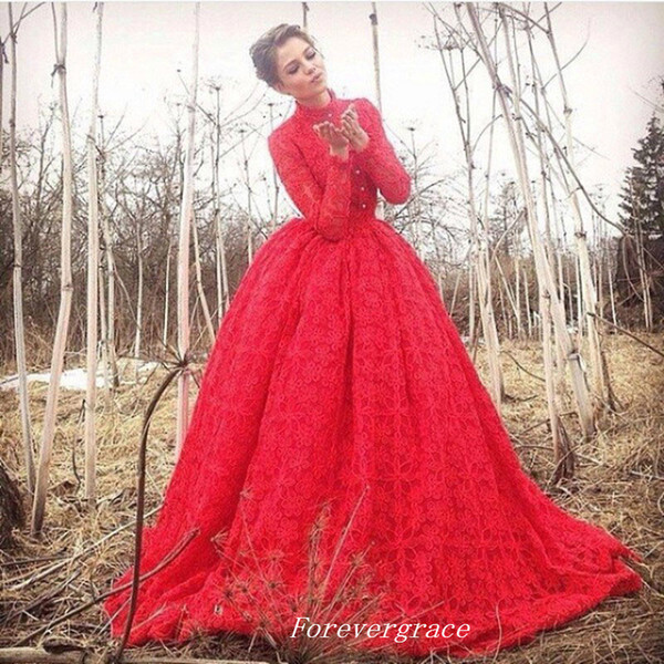 Sexy Red Long Sleeve Evening Dress A-Line High Neck Sweep Train Long Special Occasion Dress Party Gown Custom Made Plus Size