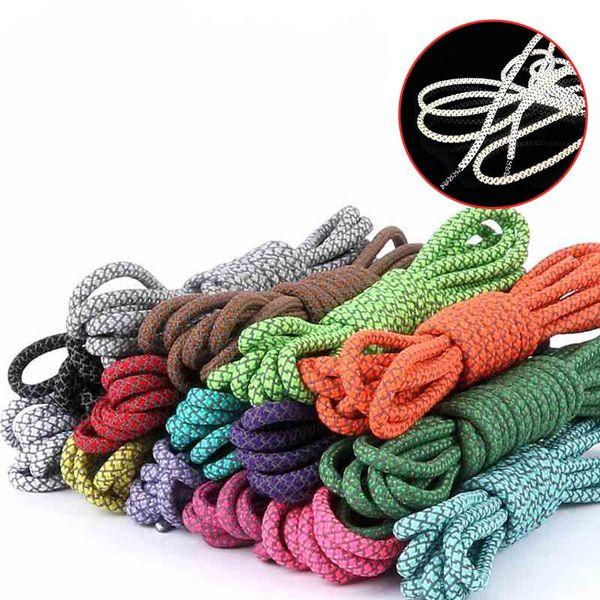 100 cm 10 pairs Fluorescent Shoe Lace Sport Shoelaces Fashion Sneaker Shoe strings 3M Reflective Round Rope Shoe Laces