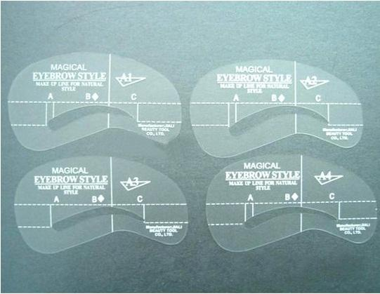 Wholesale- 4 Pcs 4 Style Eyebrow Stencil Eye Brow Template Plastic Makeup Shaping DIY Beauty Tool A1-A4