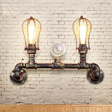 Cabezales dobles Estilo loft Antiguos accesorios de iluminación de pared industrial Sencilla lámpara de tubería de agua de hierro aplique luminaria iluminación para el hogar
