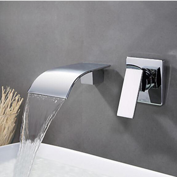 top popular Promotion Ceramic & Chrome Brass Bathroom Tub Faucet Single HandleTub Spout Wall Mounted Waterfall Flow With Hot and Cold Water 2021