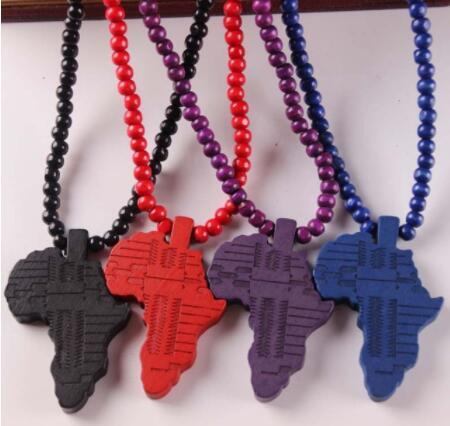 Good Wood Chase Infinite Deep Brown Africa Map Pendant Wooden Beads Necklace Hip Hop Fashion Jewelry