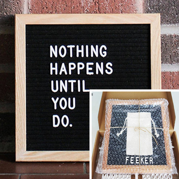 "best selling 10x10"" Black Felt Letter Board 340 Characters Letters FREE Craft Knife Cloth Pouch Oak Wood Frame Easels DIY Message boards drop shipping"