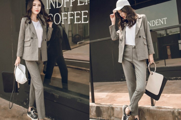 2017 Korean style causal business suit long pants women two Piece suit slim clothes plus size 2 colors free shipping