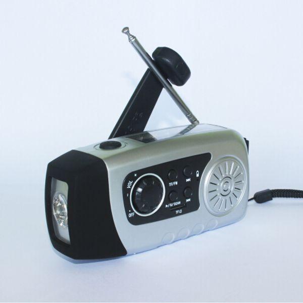 Hand Crank Phone Charger Emergency Generator Flashlight USB Recharger Solar FM Radio 2000mAh Power Bank YK-S6A
