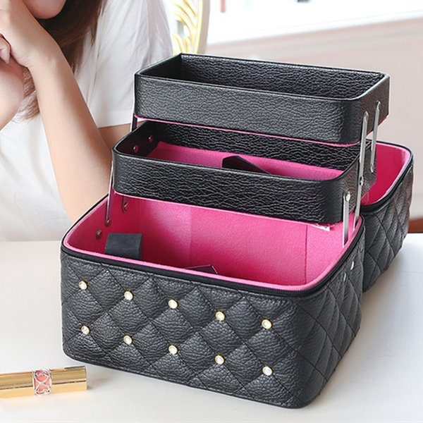 Wholesale- Women Cosmetic Bags&Case High Quality Solid PU Leather Makeup Box With Diamond 3 layer Professional Makeup Bag Cosmetic Case