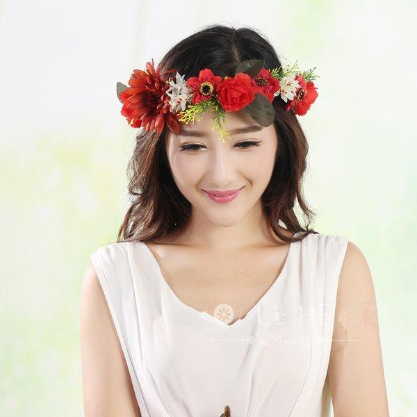 top popular flower garlands home flower garlands bridal hair accessories bridal headpieces wedding headdress for bride dress headdress accessories 2021