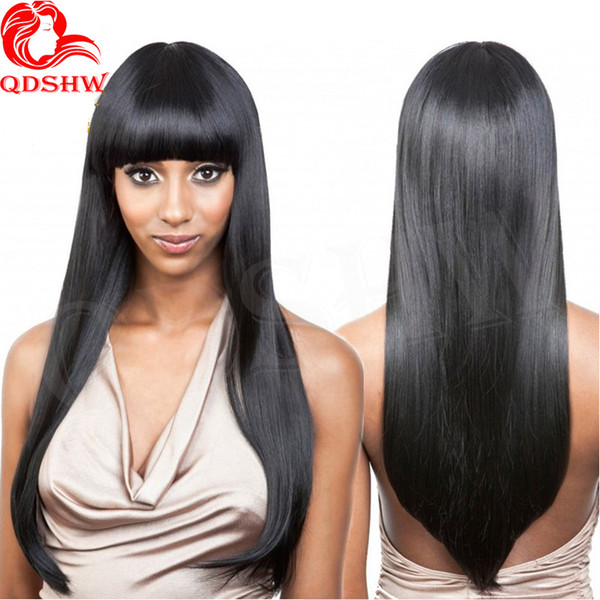 Full Lace Human Hair Wigs With Bangs For Black Women Silky Straight Glueless Brazilian Virgin Hair Lace Front Wigs With Baby Hair