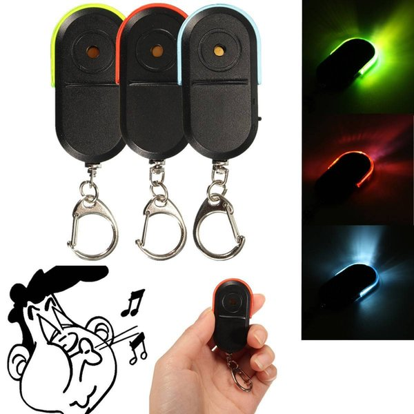 LED Key Finder Locator Find Lost Keys Chain Keychain Whistle Sound Control Jewelry Gift with LED Light