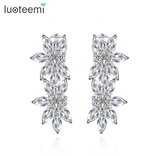 LUOTEEMI Wholesale Luxury Sparkling Clear Cubic Zircon Diamond Bridal Latest Design Rhodium White Gold Wedding Jewelry Drop Earrings