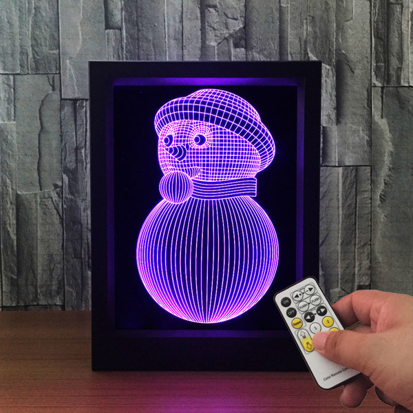 3D Snowman LED Photo Frame IR Remote 7 RGB Lights Battery or DC 5V Factory Wholesale Dropship Free Shipping