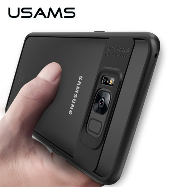 new product bd422 b1268 USAMS Full Protective Case For Samsung Galaxy S8 TPU & Acrylic Transparent  Back Cover Ultra Slim For Samsung Galaxy S8 Plus Case Tough Cell Phone ...