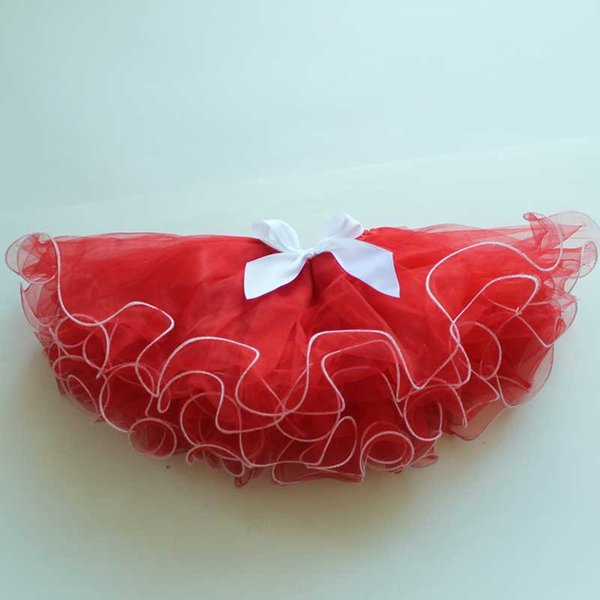 2017 Christmas Red Kids Skirts With White Trim New Design Puffy Baby Tutu Skirt For Wholesale
