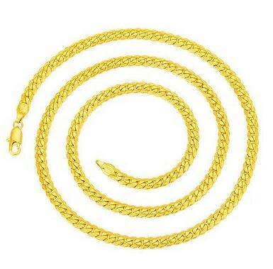 Collana a catena a spina di pesce vintage placcata oro 18KGP, uomo, 5mm * 60cm