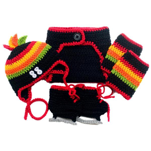 Hockey Team Costume Handmade Crochet Baby Boy Girl Hockey Hat Diaper Cover Skate Booties Leg Warmers Set Infant Newborn Photo Props