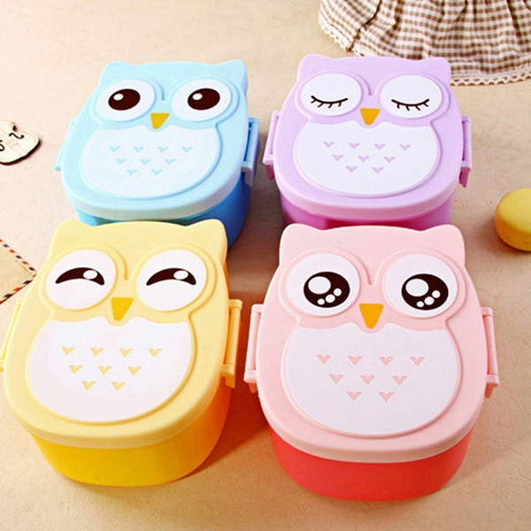 best selling Best Selling Cute Variety Solid Color Cartoon Owl Lunch Box Food Container Storage Bento Microwave for Kids D4J1
