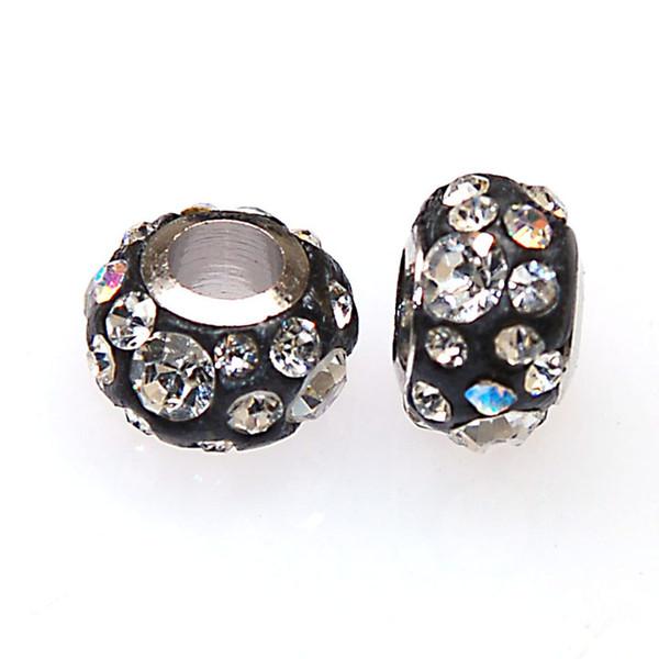 Hohe Qualität Fimo Ton Pflastern Kristall Großes Loch Perlen 7x11mm Großes Loch Perlen Fit Für Pandora DIY Schlangenkette Charm Armbänder