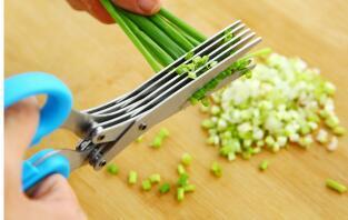 Ножницы из нержавеющей стали 5 слоев Резак для специй Нарезанный зеленый лук Ножницы для резки Инструмент для приготовления пищи Многофункциональные кухонные ножи