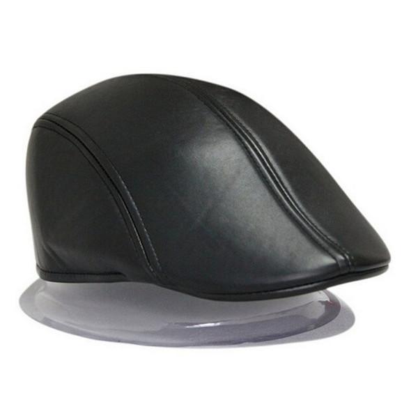 All'ingrosso-2016 moda donna berretto cappello in pelle PU uomo Newsboy Cabbie Golf Baker Ivy Cap Black