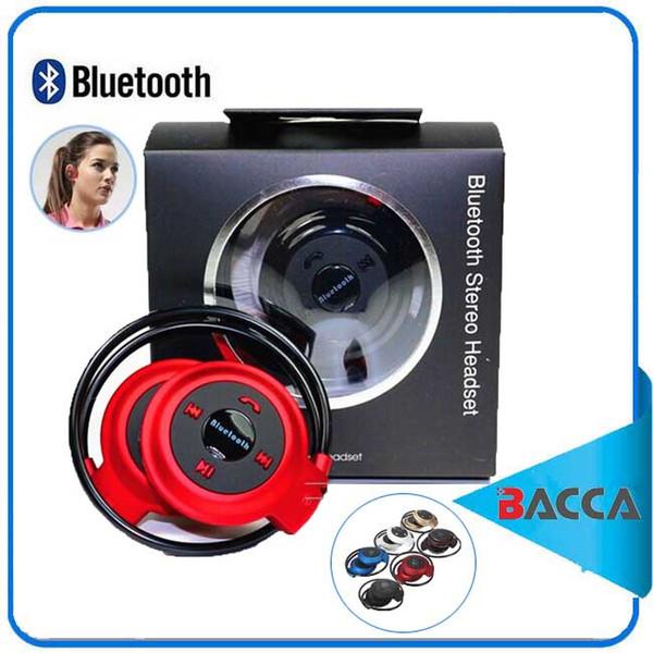 Mini 503 Neckback Sport Wireless Bluetooth Manos libres Auriculares estéreo Auriculares Auriculares Ranura para tarjeta micro SD + Radio FM para iphone8 para note8