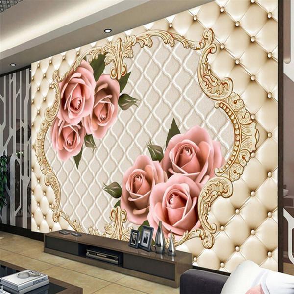 Europäischen 3D Stereo Relief Rosen Simulation Soft Pack Wandmalerei Schlafzimmer Sofa TV Hintergrund Tapete Nahtlose Vliesstoffe