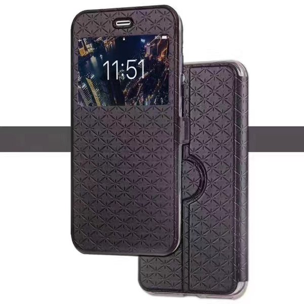 Slim Grid Coque For iPhone 8 Case Flip Wallet Stand PU Leather View Window Phone Cover Case With Card Slot Pocket