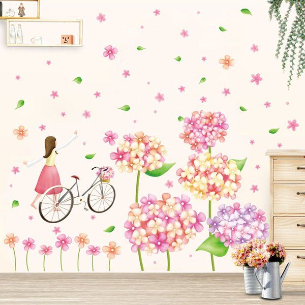 cute flowers bicycle girl wall stickers for kids rooms nursery baby bedroom children art wall decals home decorations