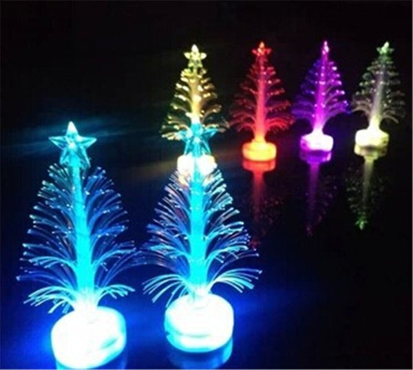 Christmas optical fiber Light tree Decorations Flashing Christmas Tree with star colorful LED light flash bar party props gifts toys