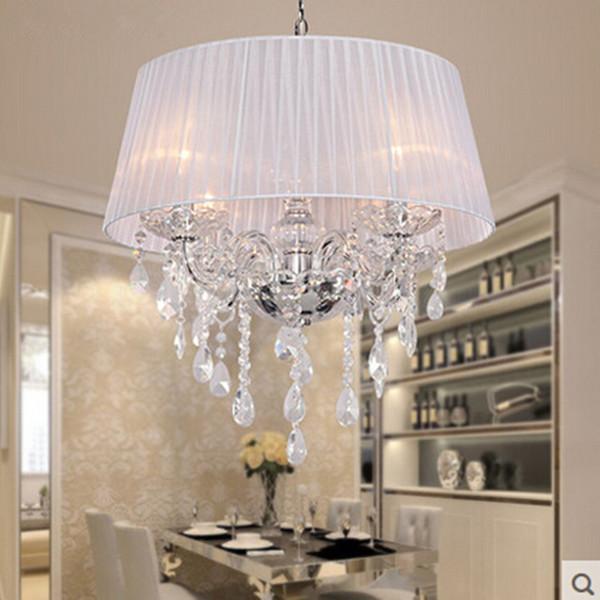Fabric Schirm LED moderne K9 Kristallleuchter 50cm 4 * E14 führte Birnen-Kristallleuchter-helle hängende Lampen-weiße / beige / rosafarbene / rote / schwarze Schatten