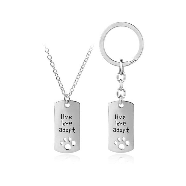 live love adopt footprints love heart-shaped necklace keychains loving faher's Day gift jewelry key ring free shipping