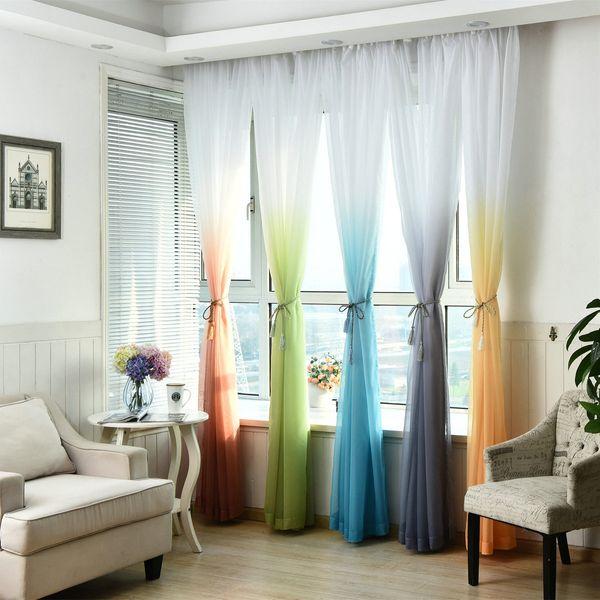 Acheter Sheer Tulle Rideau De Fenêtre Pour Salon Cuisine Moderne Modèle  Voil Avec Couleur Lumineuse Pour Décoration De Fenêtre Style Minimaliste De  ...