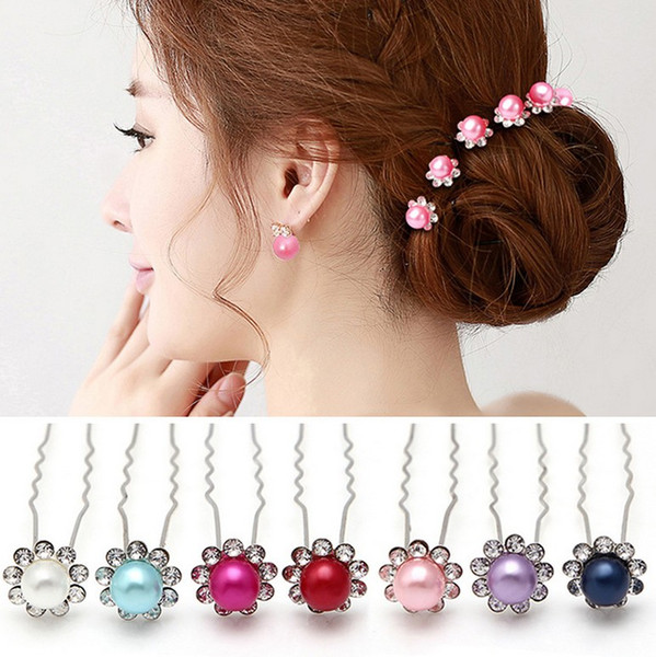 50pcs /Lot Fashion Women Jewellery WEDDING BRIDAL Crystal Rhinestone FLOWER Pearl HAIR PINS HAIR CLIPS MIX COLOR MY1