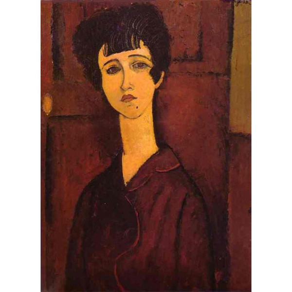 Portrait of a girl (Victoria) by Amedeo Modigliani Paintings Woman abstract art High quality Hand painted
